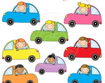 Stick Figure Drivers Cute Clipart, Scrapbook Clipart, Driving Clipart, Car Clip art, Boy Driver, Girl Driver, Driving Graphics, Kid Art