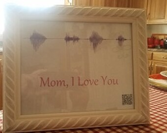 SoundWave Art In A Beautiful Frame With QC Code To Listen To Anytime. Mothers, Fathers, Grandparents, Loved Ones, Grandkids, Kids, Babies