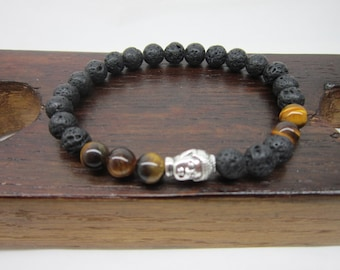 Buddha Bracelet Men Lava Stone Chakra Bracelet Silver Buddha Bracelet Men Tiger Eye Bracelet Men Energy Bracelet Tiger Eye Protection Mala