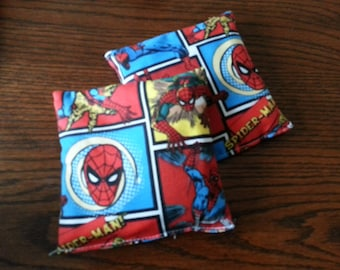 Boo Boo Packs, Ouch Pouch, Reuseable Hot or Cold Rice Packs, Kids Ice Pack. Handwarmers, Heating Pad, Set of 2, Cotton Spiderman Fabric !