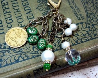My Time is Yours Shamrock Purse Jeans Jewelry Dangle zipper pull