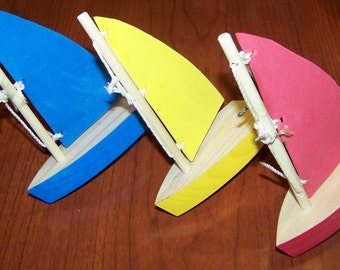 Wooden sail boat, toy boat, wooden boat, birthday boat, birthday party, float toy, racing boat, creek, pond, bathtub, or puddles