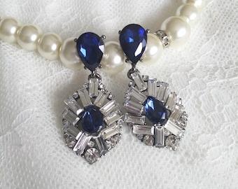 Sapphire blue earrings,  CZ bridal earrings, Bride blue Earrings, wedding jewelry, sapphire earrings, bridal jewellery, zircon earrings