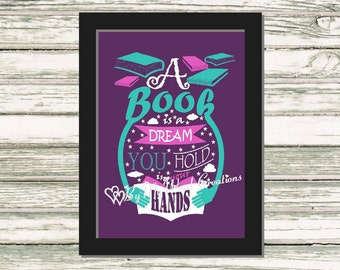 Book Quote Art, Book Lover Word Art, Reader Gift, Book Lover Gift, A Book Is A Dream Quote, Instant Download, PRINTABLE DIGITAL FILE