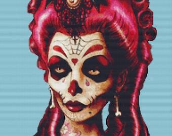 Modern Cross Stitch Kit, Marcus Jones Art, Day of The Dead Cross Stitch, Sugar Skull Art, Cross Stitching Set, Modern Art, Halloween