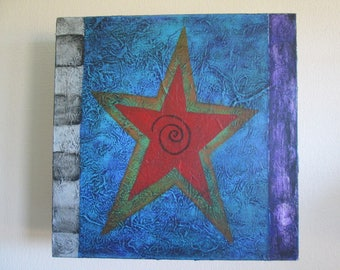 Red Star on Blue Acrylic Painting