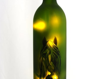 Horse Lighted Wine Bottle - Wine Gift, Wine Decor, Horse Lover, Wine Bottle Lamp, Wine Lover, Birthday, Equestrian, Housewarming,  Bar Decor