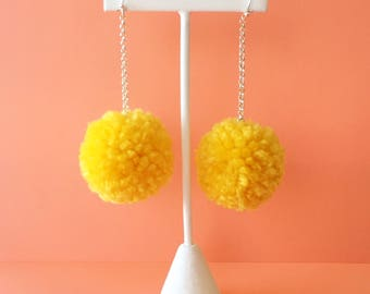 hello yellow pom earrings