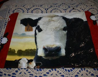 Recycled Feedsack Kitchen Placemats for your kitchen table or bar w/bald face cow & calves/cows/cattle farm style decor