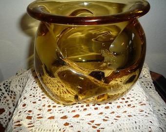 Amber Colored Crystal Vase
