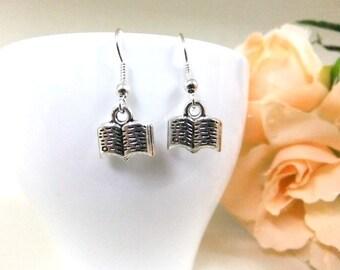 Book Earrings, Small Earrings, Silver Earrings, Gift, Booklovers, Simple Earrings, Small Gift, Silver Book Earrings, Stocking Stuffer, Xmas
