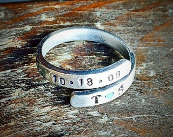 Personalized Wrap Ring - Anniversary Date Ring - Adjustable Wrap Ring - Hand Stamped Ring - Initials Ring