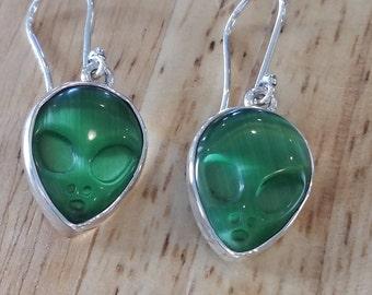 Designer Earrings Alien UFO 950 Sterling Silver/Green Cats Eye - Wear to AlienCon!