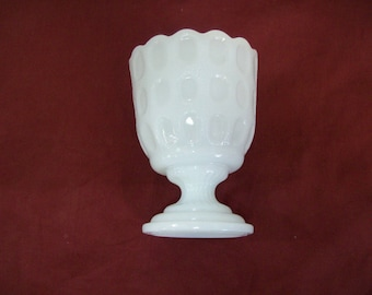 EO Brody Ohio Milk Glass Scalloped Vase Candy Bowl, Planter, FREE SHIPPING C4