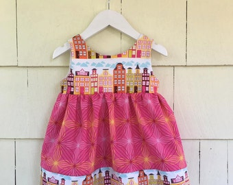 Cityscape Dress   Architect   Buildings   Scandinavian   Houses   City Skyline    Girls STEM STEAM   Pocket Dress   Baby Gift   Pockets