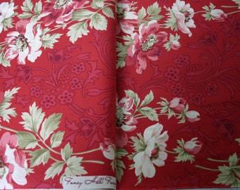 Robyn Pandolph Quilt Fabric - Fancy Hill Farm - Rose Red Border Print- by the yard