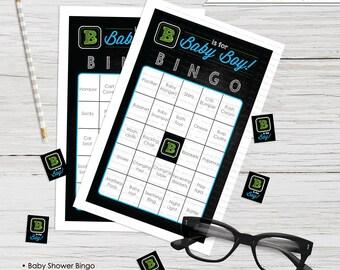 B is for Boy Bingo Shower 60 Cards Chalkboard Blocks INSTANT DOWNLOAD - you print