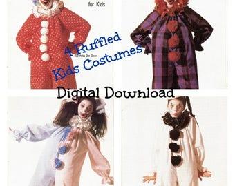 4 Kids Ruffled Clown Costume Pattern, Vintage Oversize Child's Halloween Clown  Jumpsuit Sewing Pattern, PDF Instant, Digital Download
