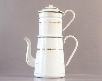 Large Enamel Coffee Pot | French Coffee Pot | French Farmhouse | Rustic Kitchen | French enamelware | Large Enamel Pot | Shabby Chic Kitchen