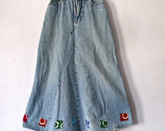 Girl's Denim Maxi Skirt Upcycled Jeans Size 10 Tie Dyed Patches