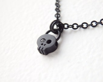 SALE - Black Little Skull Necklace