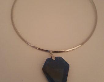 Silver chocker with Blue Stone