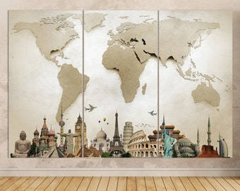 More than canvas by lwhomedecor on etsy large travel world map with monuments leather printvintage world mapwall artextra large world mapwall decorbetter than canvas gumiabroncs Image collections
