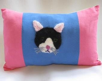 Needle Felted Cat Cushion