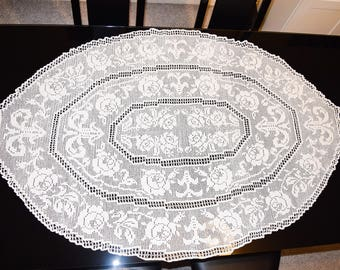Oblong Tablecloth; Handcrafted White Pure Lace; Oval Vintage Tablecloth ; Handmade Crochet Lace; Flowers pattern; Beautiful fine lace