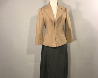 80s Benetton Jacket, Womans Tan Blazer, Fitted womwens jacket, European Tan fitted Blazer, Retro Benetton Jacket