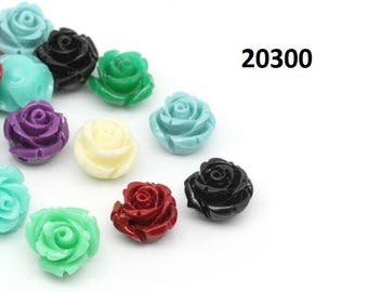 Flowers, rose, roses, coral, resin, cabochon, 10 mm, 12 mm, 14 mm, 29 mm