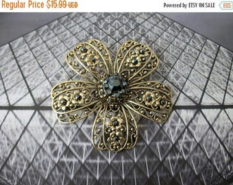 ON SALE Vintage Aniqued Gold Tone Gift Worthy Filigree Hematite Center Floral Very Large 3 Inch Pin 80417