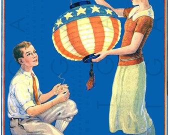Patriotic AMERICAN FLAG Lanterns ! Vintage 4th Of July Illustration. Digital 4th Of July Download. Vintage US Independence Day.
