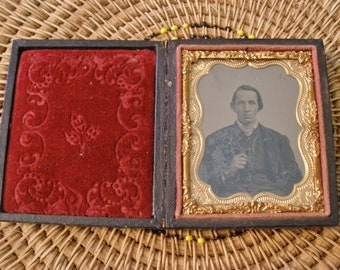Antique Framed Tin Type Photo #1