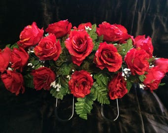 2 dozen Red Roses Momument saddle  / Valentines Cemetery Flowers