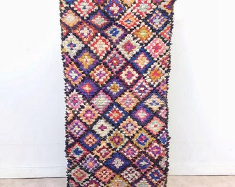 "Moroccan Boucherouite rug,""N61"", Vintage rag rug, Berber rug, Moroccan decor, Boucherouite carpet, Colorful Boucharouette"