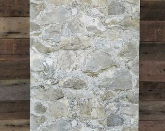 Weathered Gray Brown Rustic Farmhouse Tumbled 3D Stone Peel and Stick Wallpaper RMK9096WP - Sold by the yard