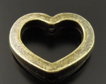 27 hearts pierced antiqued bronze from side to side 14 x 12 x 4 mms