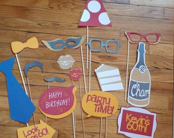 Photo Booth Props, 16 piece set, Party Photo Props, Party Decor