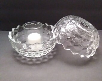 Cube Design Clear Glass Fairy Lamp with Votive Cup