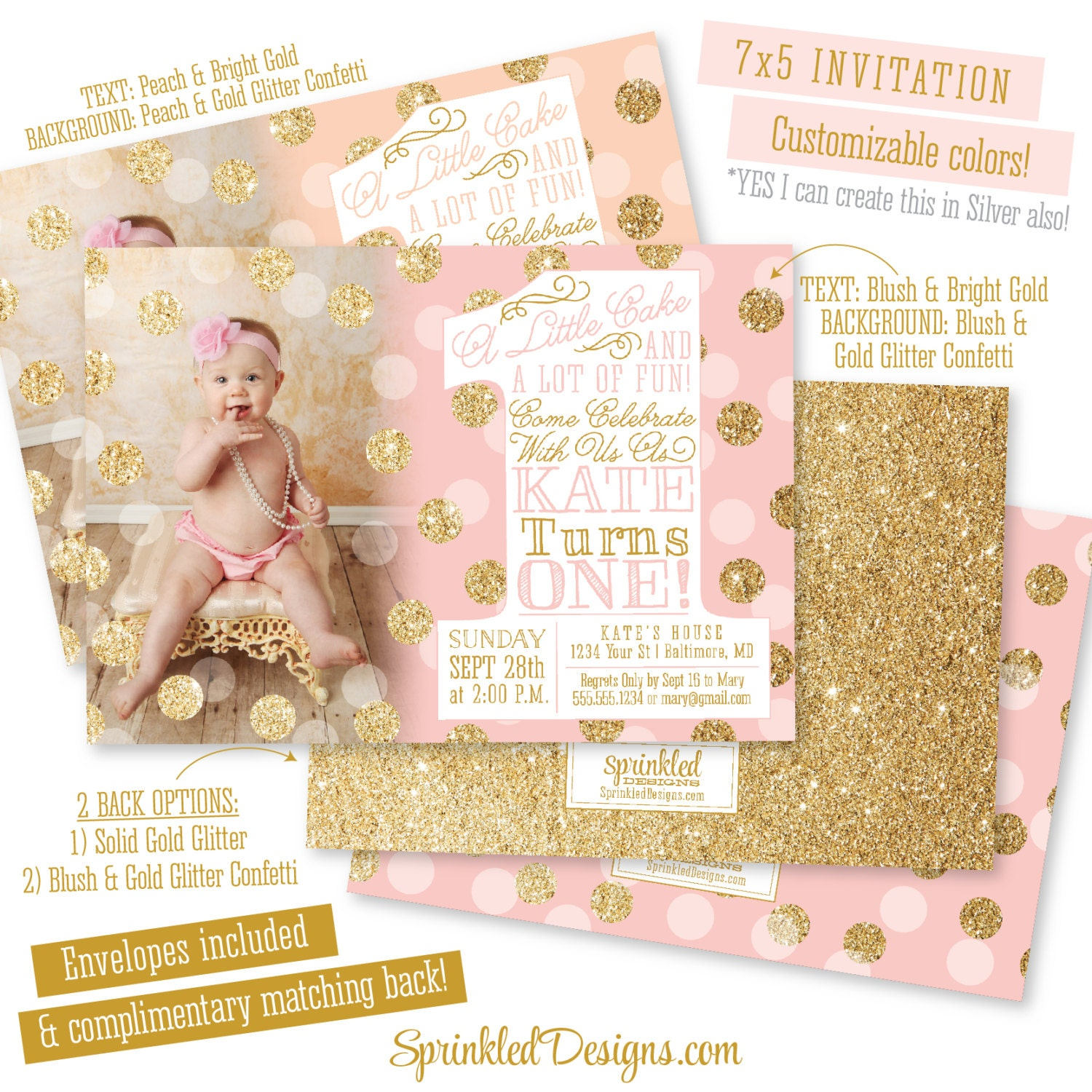 pink gold first birthday invitation with photo big one 1st. Black Bedroom Furniture Sets. Home Design Ideas