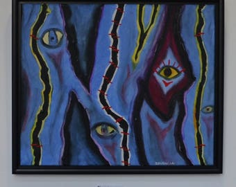 Blue eyes, acrylic on canvas, shadow gap, framed, modern painting, pictures, wall decoration,