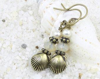 Sea Shell Earrings - Seashell Jewelry - Beach Jewelry - Antique Brass Earrings - Nautical Bronze and Pearl Earrings - Summer Jewelry