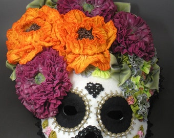 Dia de los Muertos Day of the Dead Sugar Skull Calavera Halloween Mask - Mardi Gras, Carnival, New Years Eve, Saturnalia