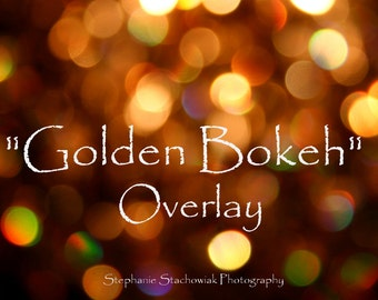 Christmas Bokeh Overlay, New Year Overlay, Overlay, Gold