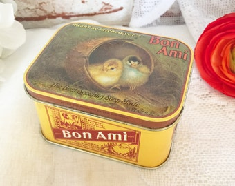 Vintage Bon Ami Soap tin box, Collectable, Decorative, chick, chicken, mid century kitchen storage, advertising, household cleaner,graphics