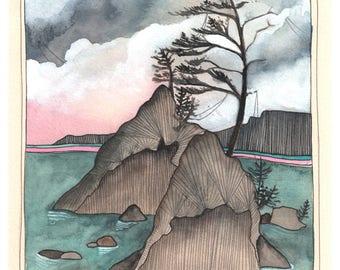 Art - Art Print - Print of Painting - Oregon Coast Art - Oregon Art - Oregon Art Print - Ocean Art Print - Oregon Coast - Beach Rock