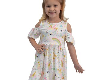 "Girls ""Unicorn"" Printed Cold Shoulder Dress"