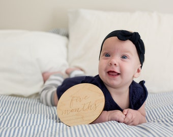 Set of 7 Double-Sided Monthly Milestone Plaques // Wooden Milestone Props // Baby Milestone Prop // Engraved Milestone Props // Monthly Card