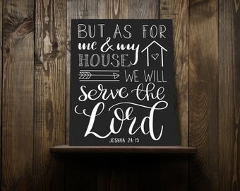 As for me and my house we will serve the Lord Calligraphy Wall Art Instant Download Printable Thanksgiving print Printable Art
